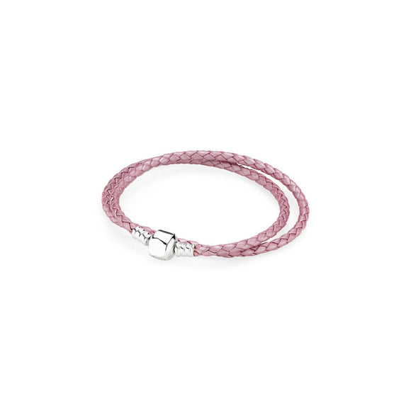 La Mia Cara Jewelry - Abraccio - Rose Leather with Silver Clip Pandora Style Bracelet