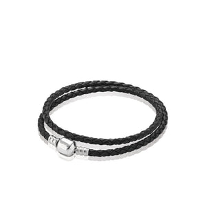 La Mia Cara Jewelry - Abraccio - Black Leather with Silver Clip Pandora Style Bracelet