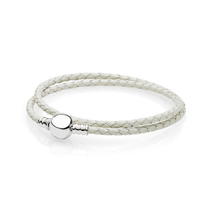 La Mia Cara Jewelry - Abraccio - White Leather with Silver Clip Pandora Style Bracelet