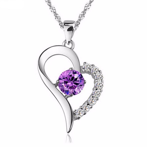Lea - Purple Heart Crystal Pendant & Necklace with Swarovski Elements