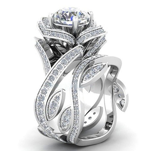 LA MIA CARA JEWELRY - Noella - Silver Lotus Flower CZ Diamond Ring