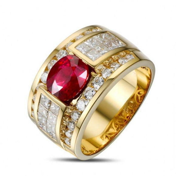 Aella - Red Ruby & Diamond Yellow Gold Engagement Ring