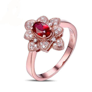 LA MIA CARA - Ella - Red Blood Ruby & Diamond Engagement Ring