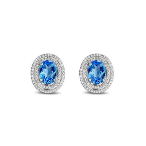 La Mia Cara Jewelry - Davida Round Cut - Blue Topaz Diamond White Gold Earrings