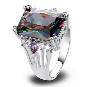 Cocktail Ring -Arc en Ciel - Mystic Topaz White Gold  - LA MIA CARA JEWELRY