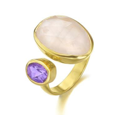 Liem - Gemstone-Rose Quartz & Amethyst Hydro Ring