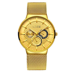 La Mia Cara Jewelry - LIGE Masculino Gold - Stainless Steel Super Slim Men Watches