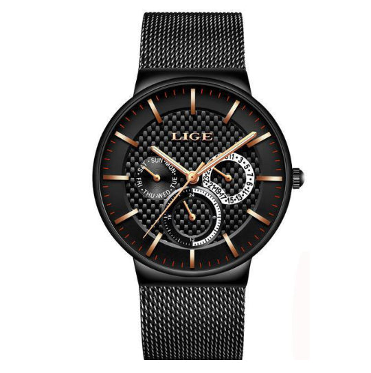La Mia Cara Jewelry - LIGE Masculino Black Gold - Stainless Steel Super Slim Men Watches