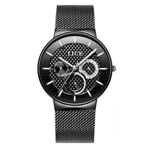 La Mia Cara Jewelry - LIGE Masculino Black - Stainless Steel Super Slim Men Watches