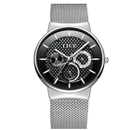 La Mia Cara Jewelry - LIGE Masculino Silver Black - Stainless Steel Super Slim Men Watches