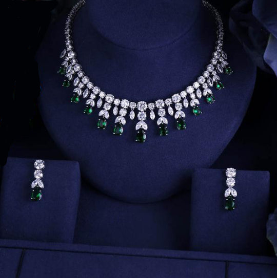 LA MIA CARA JEWELRY - Green Angelo - Luxury Sparking Brilliant CZ Diamond Jewelry Set