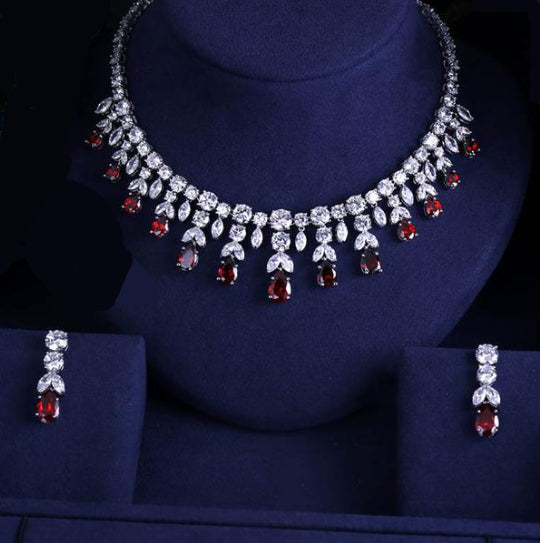 LA MIA CARA - Red Angelo - Luxury Sparking Brilliant CZ Diamond Jewelry Set