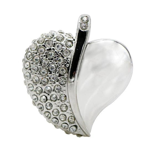LA MIA CARA - Silver Kacha - Crystal Heart Pendant with Necklace and USB Memory Flash Disk