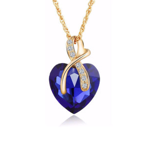 La Mia Cara Jewelry & Accessories - Celeste Cuore di Cristallo -  Swarovski Crystal Heart Pendant Necklace