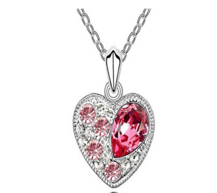 La Mia Cara Jewelry - Alina - Pink Swarovski Crystal Heart White Gold Pendant Necklace