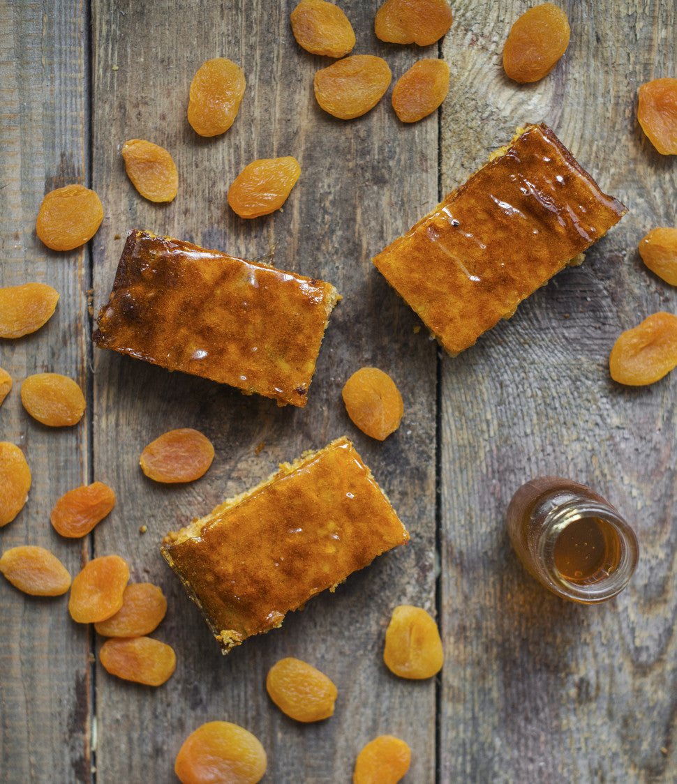 Honey from our own apiary, apricots soaked overnight with madagascan vanilla pods, creamy almonds and locally grown sweet potatoes topped with a honey and apricot glaze