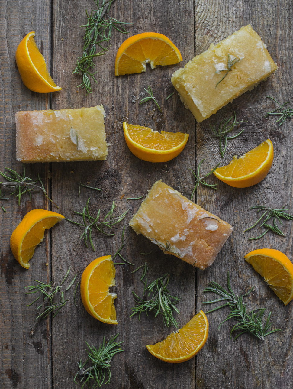 This moist, light as air cake is dripping in a fresh Orange drizzle that has the lightest hint of Rosemary to tickle your tastebuds.