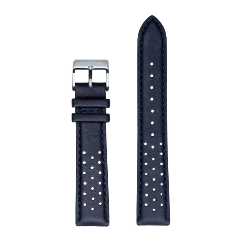 Navy Perforated Leather Strap with Navy Stitching - 20mm