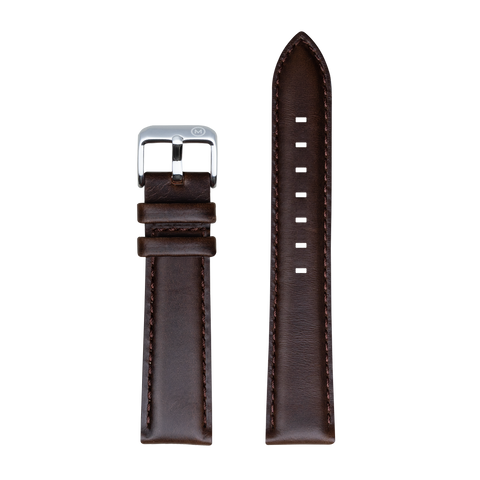 Burnished Hickory Brown Leather Strap - 20mm