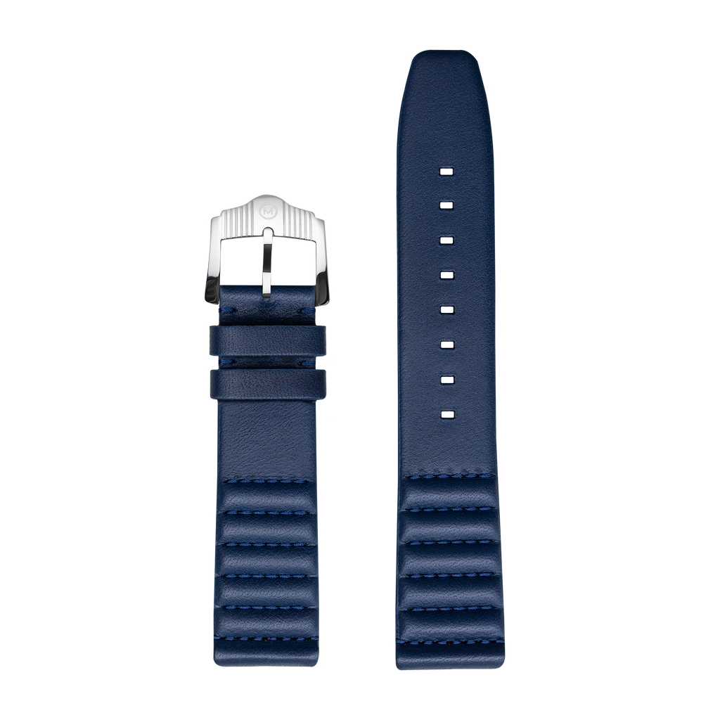 Ribbed Navy Horween Leather Strap - 22mm
