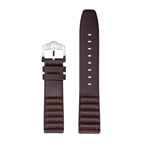 Ribbed Brown Horween Leather Strap - 22mm