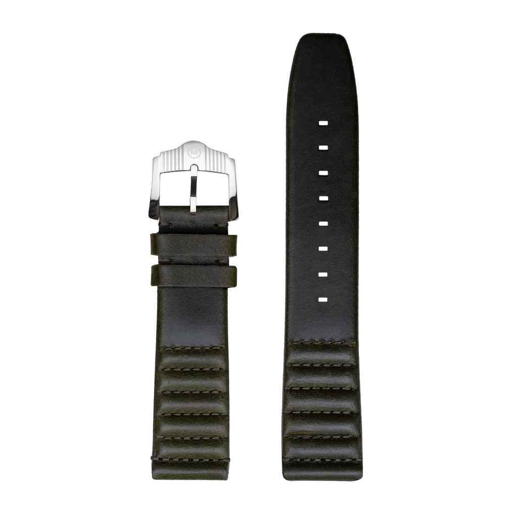 Ribbed Olive Horween Leather Strap - 22mm