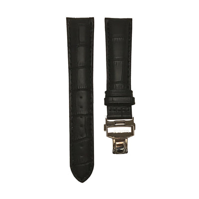 Cherwell Black Croc-Style Leather Strap - Butterfly Clasp