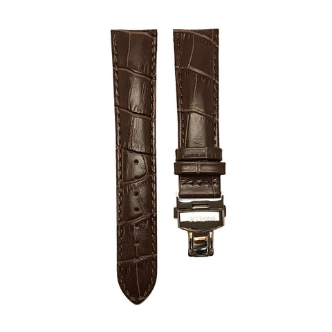 Butterfly Clasp Leather Strap Brown
