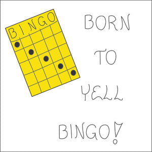 Magnet about Bingo - Humorous quote, game board, players, winning bingo, dauber