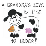 Gift for Grandma - Magnet - Grandmother Quote, humorous saying, love, cow, bell