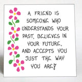 Friendship Gift Magnet, Quote about friends, BFF, best pals, besties, pink flower, original design