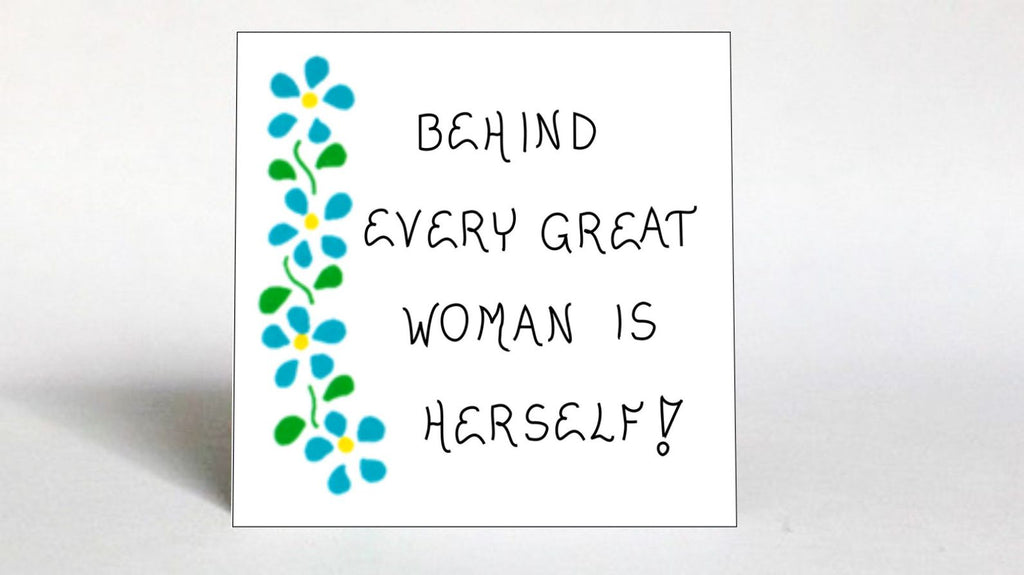 Women Theme Quote Magnet - About Inspiring, Strong, Successful Woman,  blue flowers, green leaves