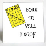 Bingo Enthusiast Magnet - Humorous quote about game players, Yellow playing card