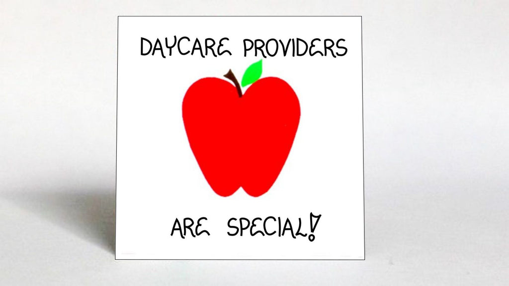 Refrigerator Magnet -Daycare Provider  - Thank you message, Children's  Day Care, Caregiver, Caring for child,  Red apple