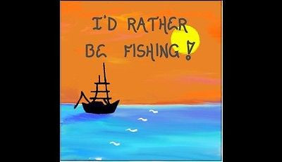 Fishing Magnet - Kitchen decor- fishermen quote, boat silhouette, orange sunset