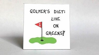 Golf Diet Magnet - Humorous golf quote, dieting, putting green, red flag