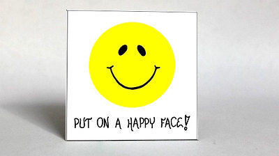 Happy, Inspiration Quote, Smiley Face Magnet