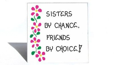 About Sisters - Magnet - Quote, Love for sister, female sibling, special friend, Pink flower design