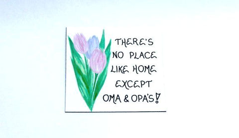 Fridge Magnet - Oma Opa Grandparents quote, grandma, grandpa, pastel tulips, green leaves