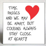 Cousin Gift Magnet Quote, family, close relatives, red heart design