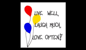 Inspirational Magnet - Inspiring Quote, Living, Live, Laugh, Love, Red, Yellow Blue Balloons