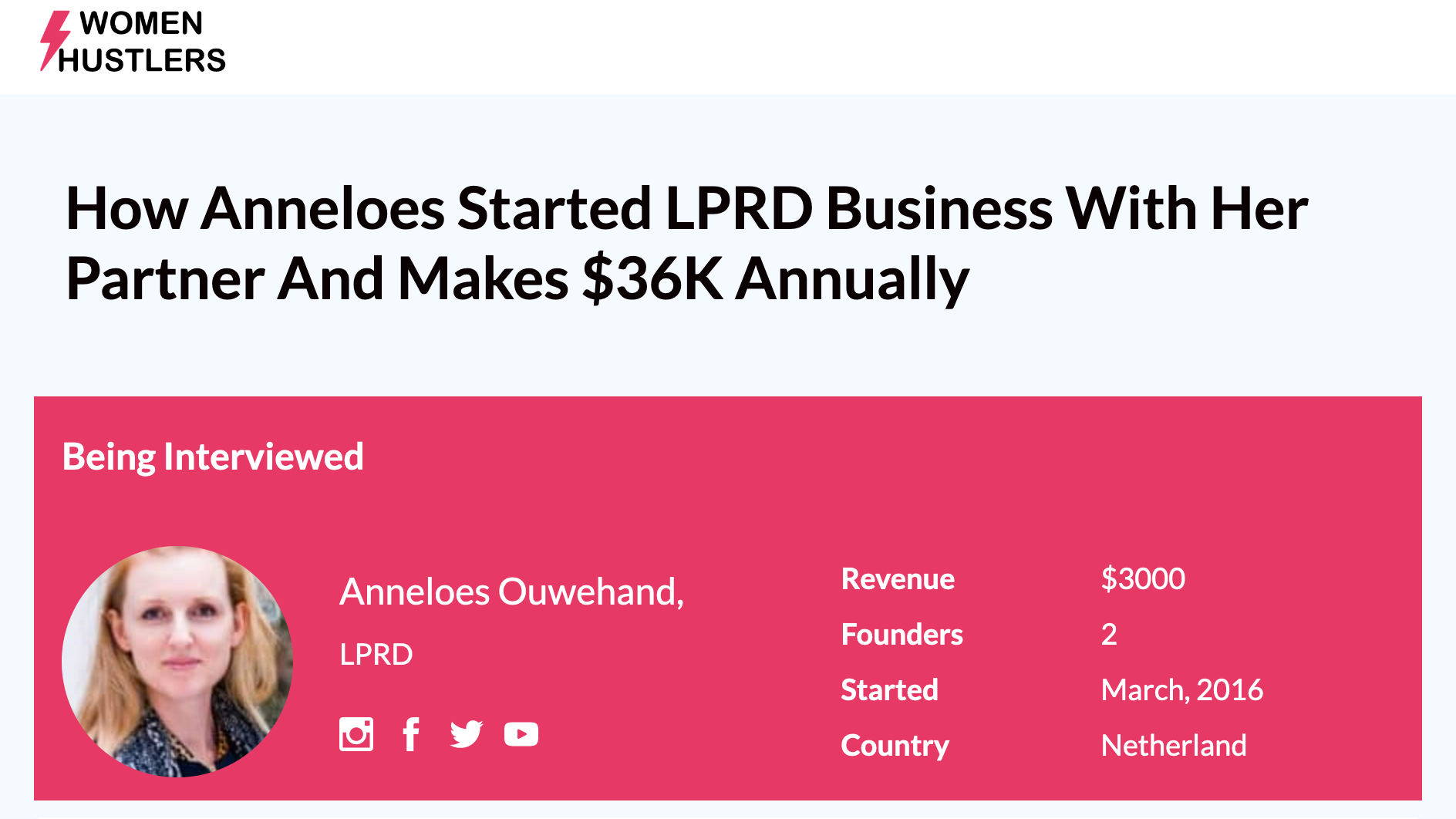 LPRD founder Anneloes interviewed about the business