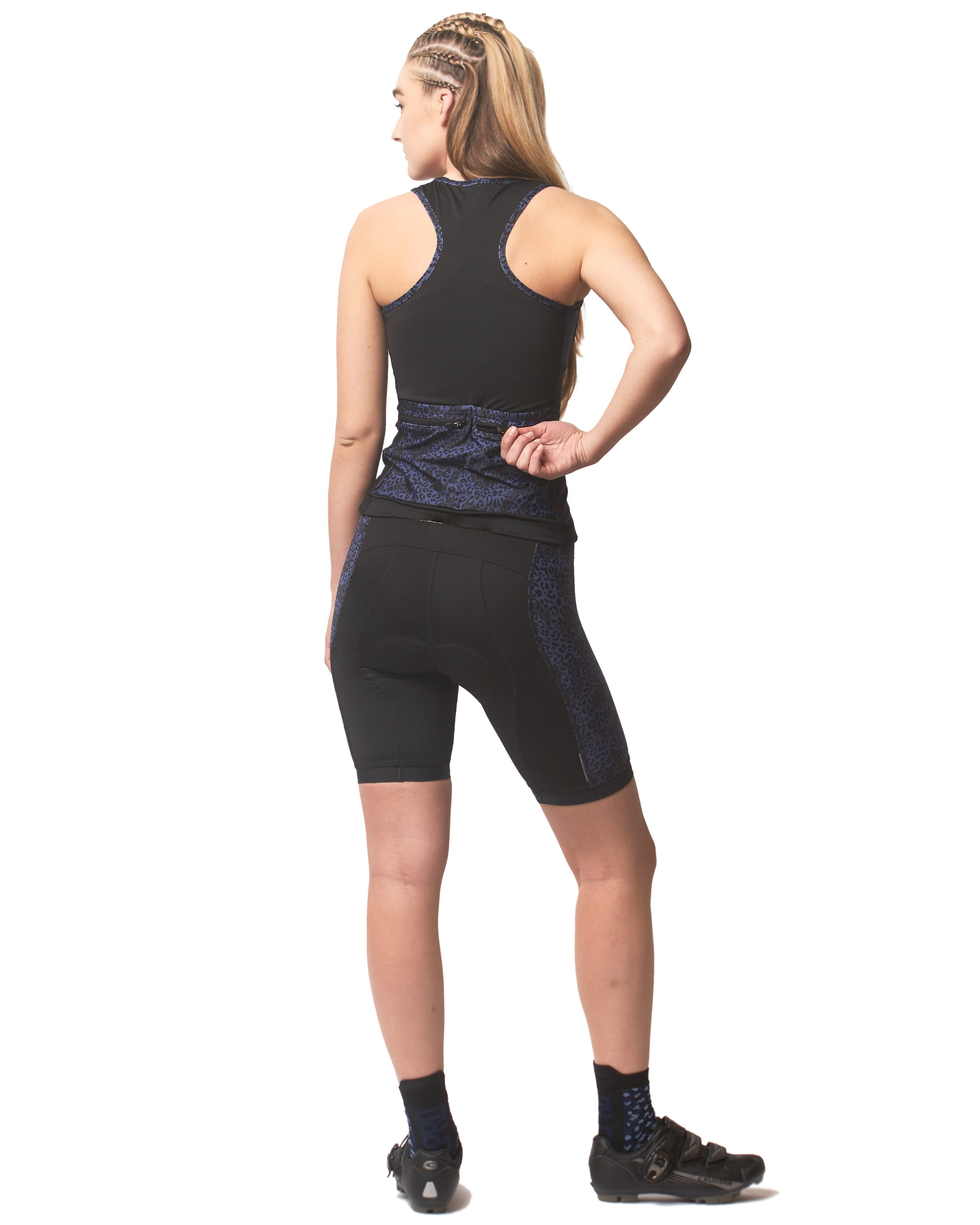 LPRD Midnight Leopard Panel Cycling Shorts | Back View Clos