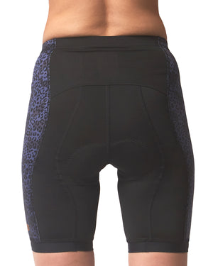 LPRD Midnight Leopard Panel Cycling Shorts | Front View Close