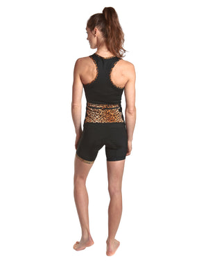 LPRD Black Cycling Shorts | Front View Close