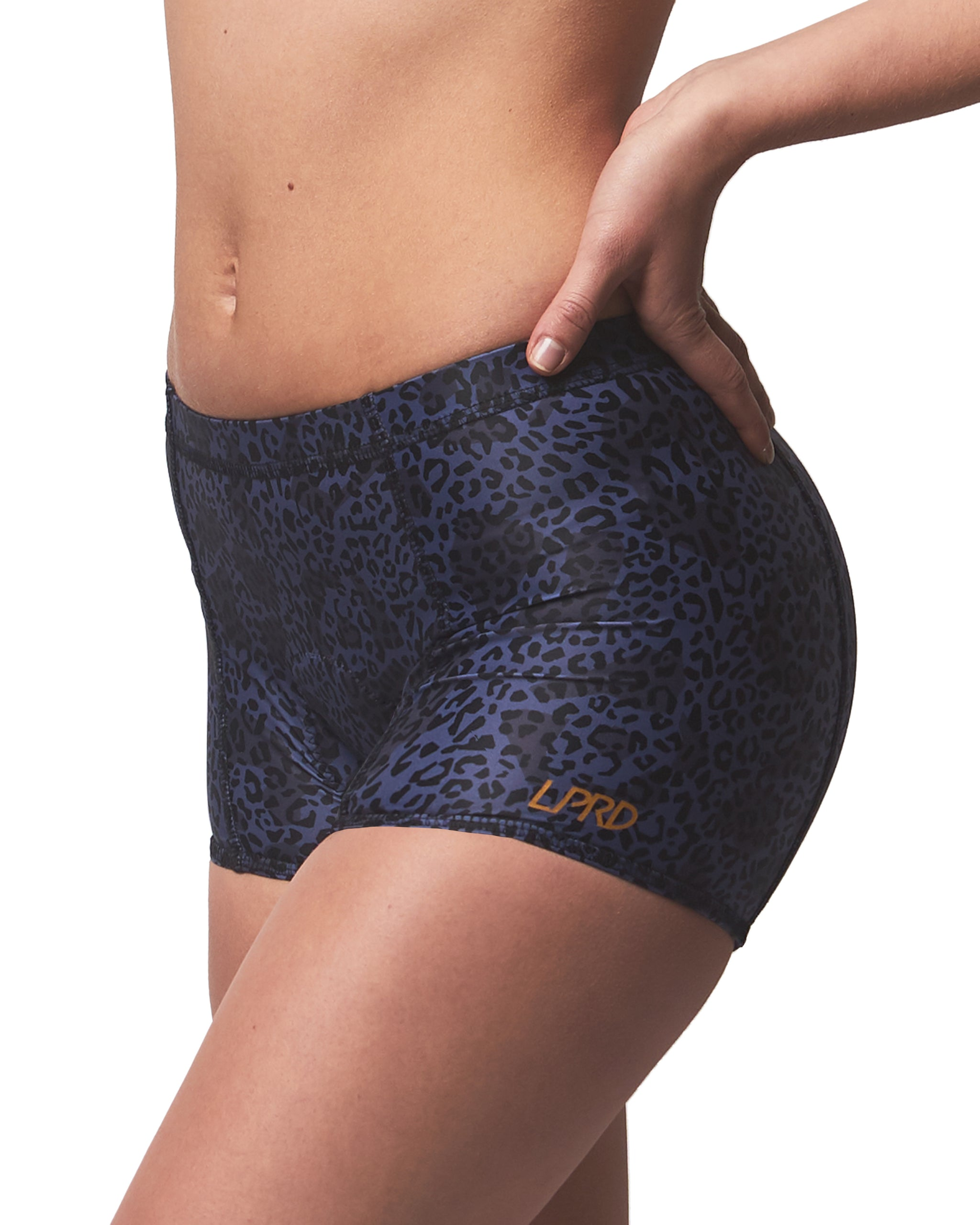LPRD Midnight Leopard Cycling Hotpants | Side View Close