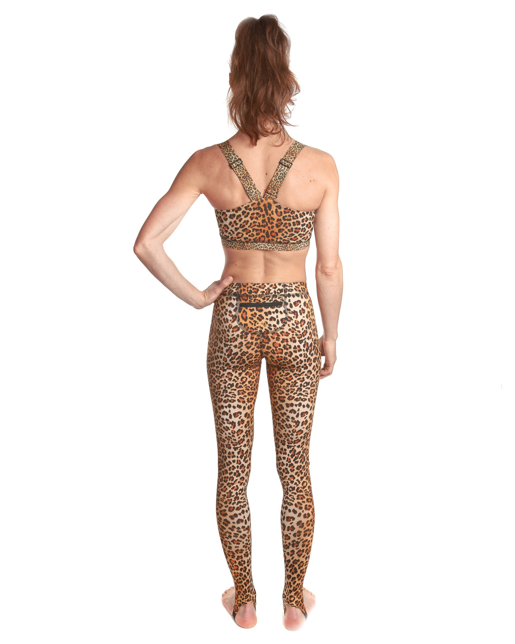 LPRD Signature Leopard Print Leggings | Back view with zip pocket