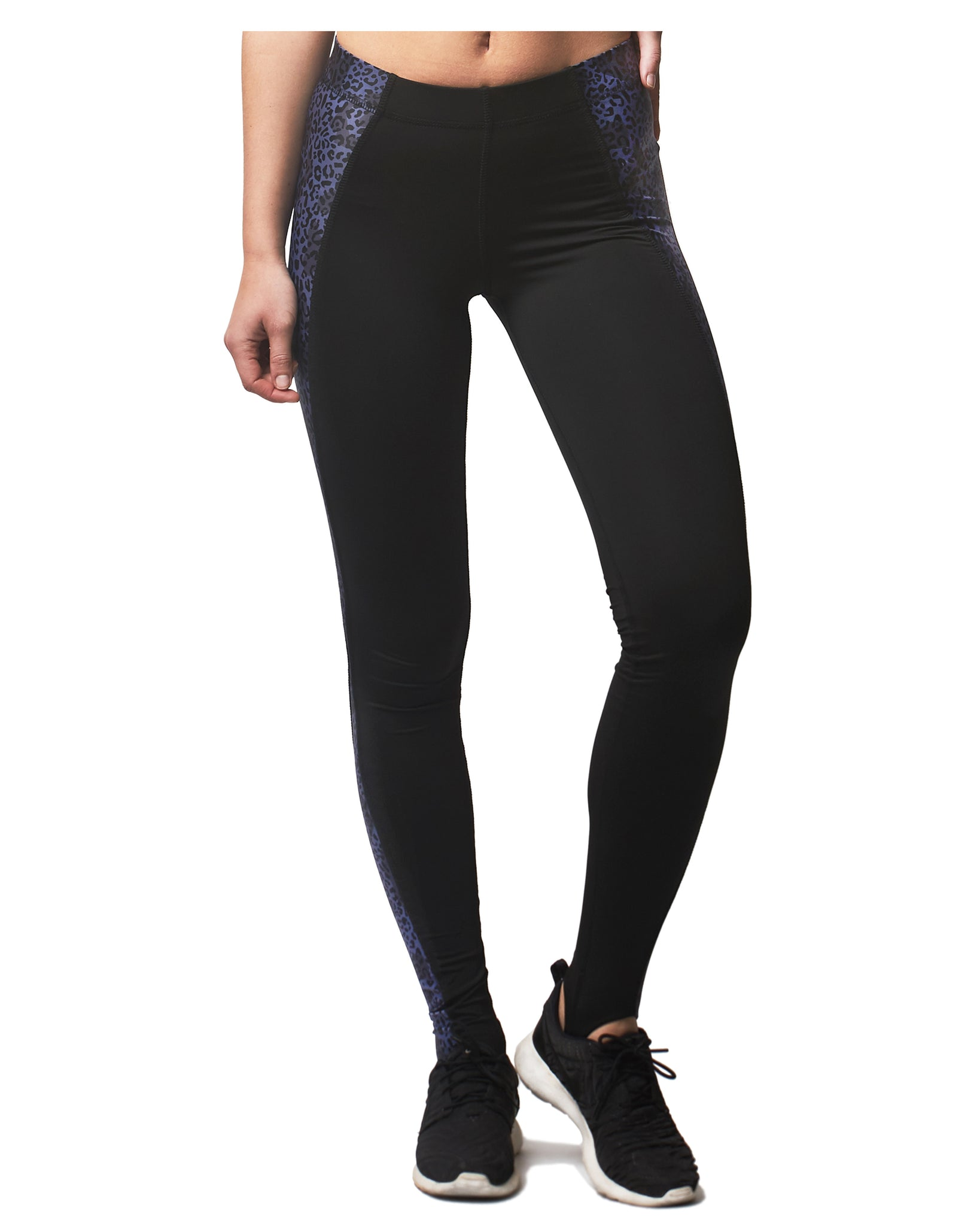 LPRD Midnight Leopard Panel Leggings | Front View Close