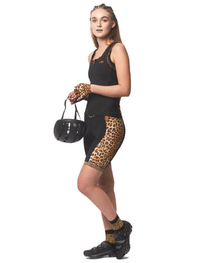 LPRD Leopard Panel Cycling Shorts | Front View Close