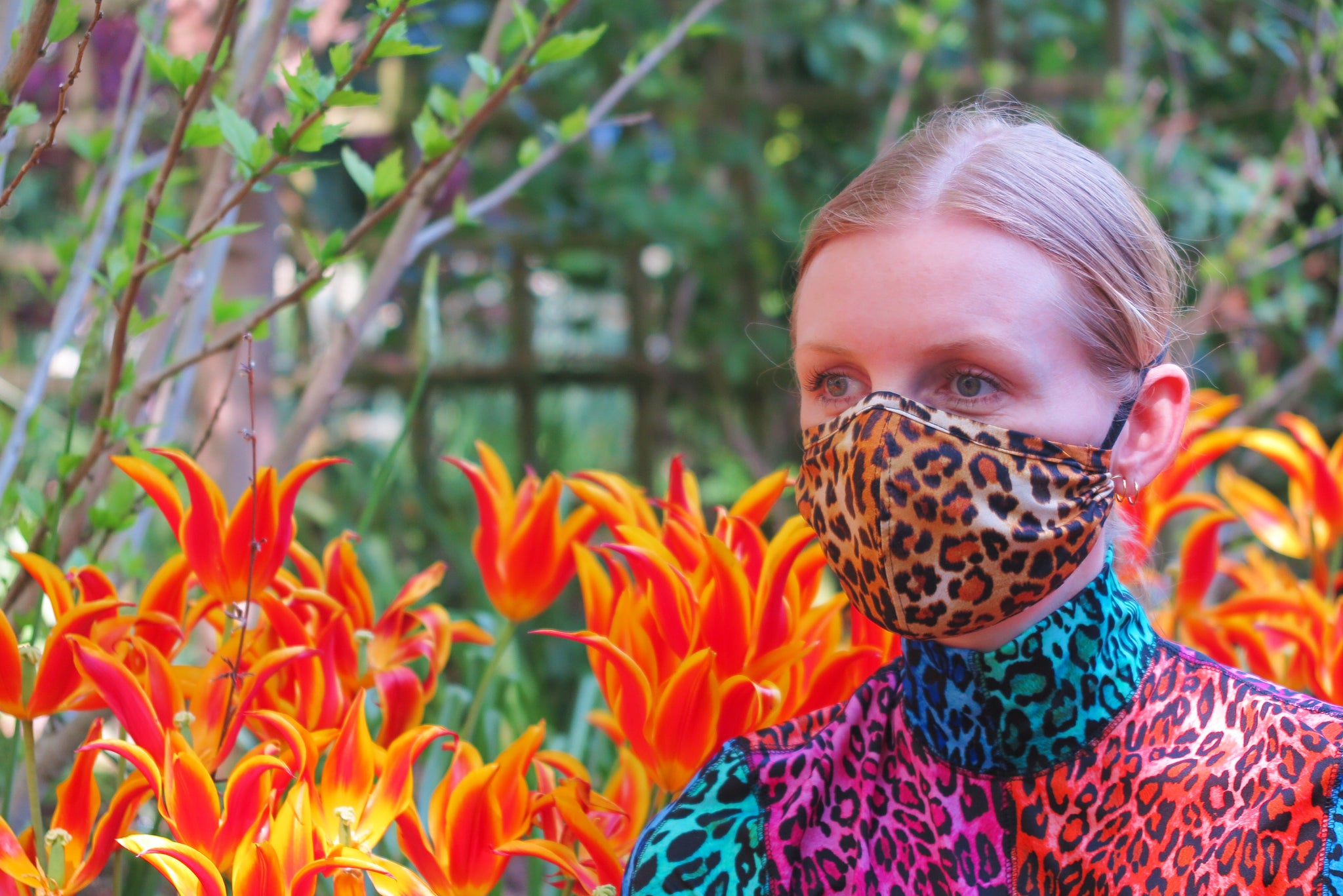 Leopard Face mask and tulip garden